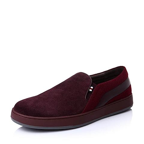 Hush Puppies/暇步士秋季专柜同款紫红色二层牛皮革男鞋乐福鞋H3F28CM5