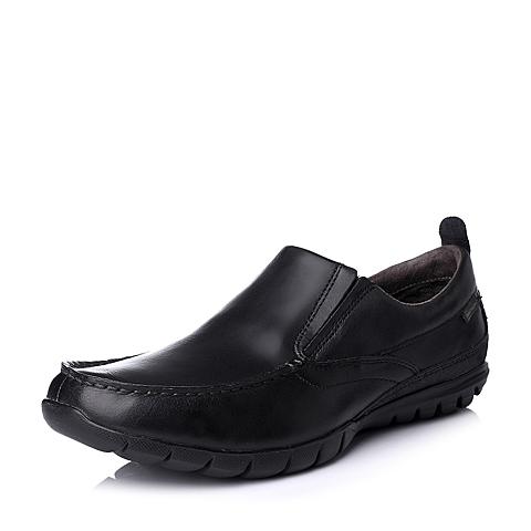 Hush Puppies/暇步士秋季专柜同款黑色打蜡牛皮男皮鞋01075CM5