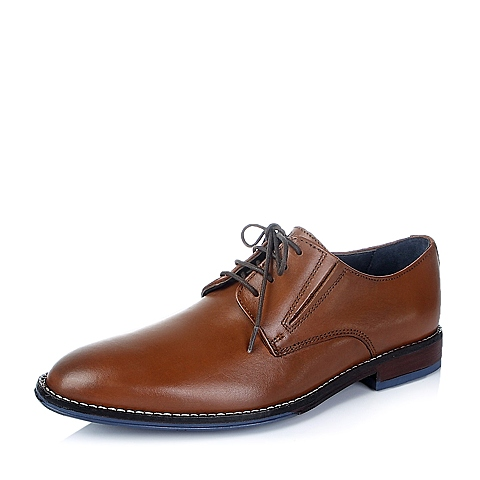 Hush Puppies/暇步士秋季专柜同款棕色光面牛皮男皮鞋K0374CM5