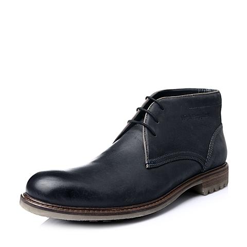 Hush Puppies/暇步士冬季专柜同款深灰色打蜡牛皮男短靴01251DD5