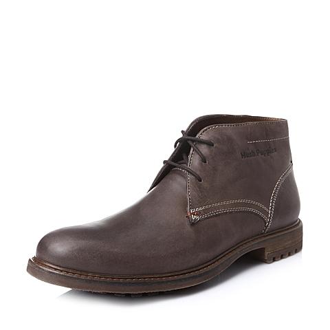 Hush Puppies/暇步士冬季专柜同款啡色打蜡牛皮男短靴01251DD5