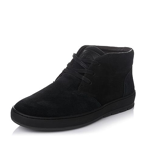 Hush Puppies/暇步士冬季专柜同款黑色磨砂牛皮男靴(绒里)H2T42DD5