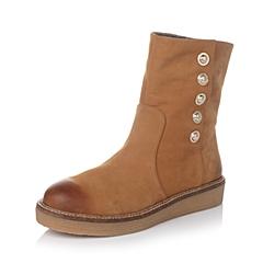 Hush Puppies/暇步士秋季专柜同款棕色磨砂牛皮/织物女靴HGH47CD5