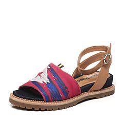 Hush Puppies/暇步士夏季专柜同款桃红色牛皮时尚舒适坡跟女凉鞋HDU27BL5