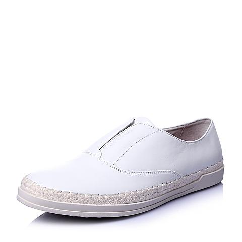 Hush Puppies/暇步士春季专柜同款白色牛皮套脚时尚百搭运动风男休闲鞋板鞋W1L01AM6