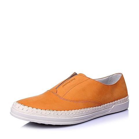 Hush Puppies/暇步士2016春专柜同款橙磨砂牛皮男单鞋W1L01AM6
