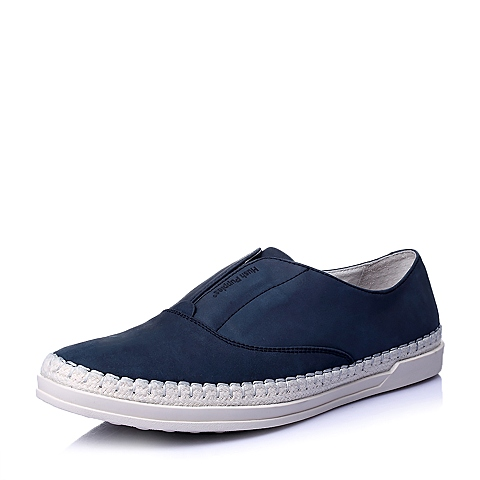 Hush Puppies/暇步士春季专柜同款深蓝牛皮套脚时尚百搭运动风男休闲鞋板鞋W1L01AM6