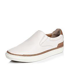 Hush Puppies/暇步士春季专柜同款白色羊皮套脚舒适透气百搭男休闲鞋板鞋01199AM6