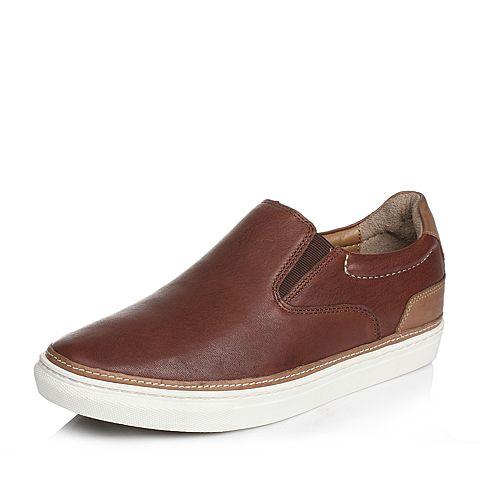 Hush Puppies/暇步士春季专柜同款啡色羊皮套脚舒适透气百搭男休闲鞋板鞋01199AM6