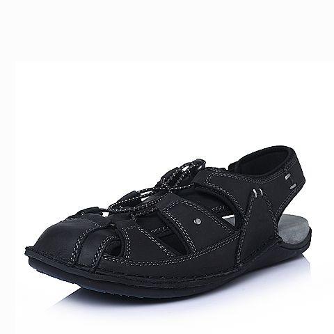 Hush Puppies/暇步士2016夏季专柜同款黑油蜡牛皮革男皮凉鞋01372BL6