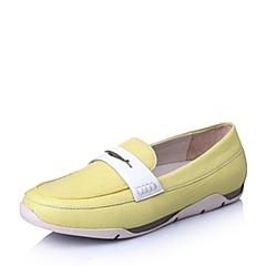 Hush Puppies/暇步士2016春专柜同款黄/白山羊皮革女休闲鞋HJQ01AM6