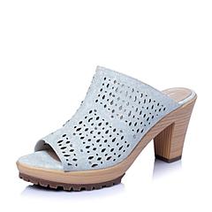 Hush Puppies/暇步士2016夏季专柜同款浅兰印花牛皮革女皮鞋HDM20BT6