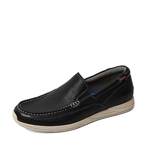 Hush Puppies/暇步士2016春季专柜同款黑色牛皮时尚休闲男单鞋H4U22AM6 专柜1
