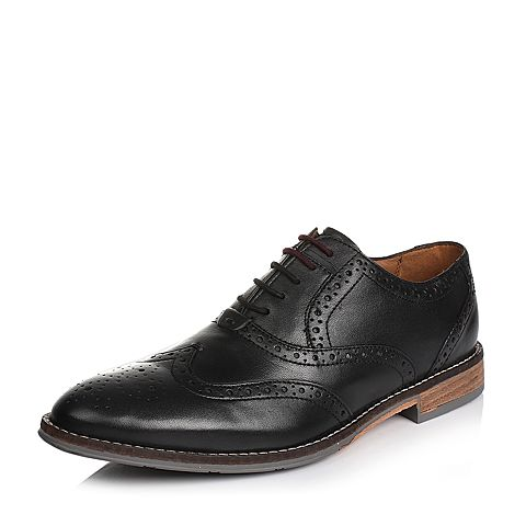 Hush Puppies/暇步士春季专柜同款黑色羊皮男单鞋01045AM6