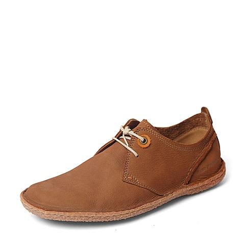 Hush Puppies/暇步士春季专柜同款棕色磨砂牛皮男皮鞋01466AM6