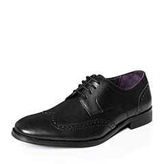 Hush Puppies/暇步士秋季专柜同款黑色牛皮英伦风商务正装男皮鞋H3N24CM6