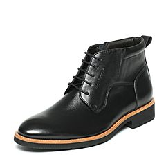 Hush Puppies/暇步士冬季专柜同款黑色牛皮光面商务休闲时尚男低靴K1Y05DD6