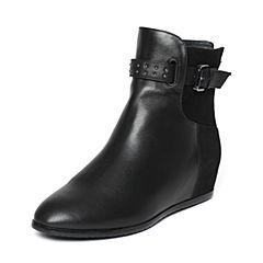 Hush Puppies/暇步士冬季专柜同款黑色小牛皮/羊皮内增高简约时尚女皮靴中靴HGC44DZ6