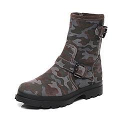 Hush Puppies/暇步士2016冬季专柜同款深灰色牛皮迷彩舒适女休闲靴HJC50DZ6