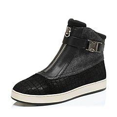 Hush Puppies/暇步士冬季专柜同款牛皮/毛绒布女休闲靴HFB54DD6
