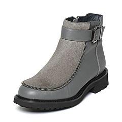 Hush Puppies/暇步士冬季专柜同款灰色牛皮/牛毛个性时尚方跟女休闲靴HKH42DD6