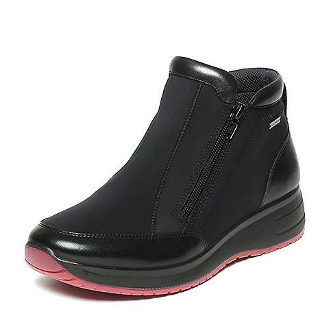 Hush Puppies/暇步士冬季专柜同款浅黑色布/牛皮时尚舒适女休闲鞋X1S03DD6