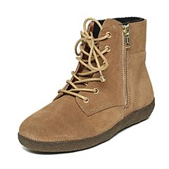 Hush Puppies/暇步士冬季专柜同款卡其色牛皮拉链短靴舒适女休闲靴W1M03DD6