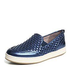 Hush Puppies/暇步士专柜同款蓝色牛皮编织套脚平跟舒适女休闲鞋HFB34CM6