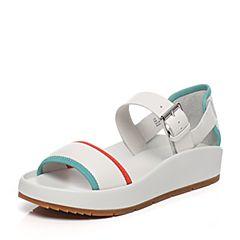 Hush Puppies/暇步士夏季专柜同款白色牛皮时尚平跟舒适女凉鞋Z1D02BL6