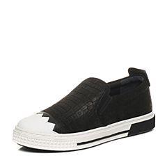 Hush Puppies/暇步士专柜同款黑色牛皮青春帅气套脚舒适男休闲鞋板鞋H5H21CM6