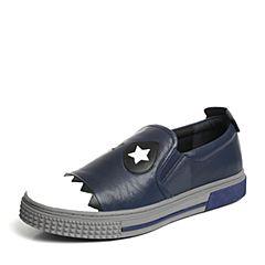 Hush Puppies/暇步士专柜同款深兰/黑色牛皮青春活力运动风男休闲鞋板鞋H5H22CM6