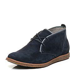 Hush Puppies/暇步士冬季专柜同款深蓝色猪皮系带复古风男休闲靴低靴01330DD6