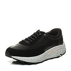 Hush Puppies/暇步士秋季专柜同款黑色牛皮运动风厚底舒适男休闲鞋K2A03CM6