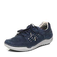 Hush Puppies/暇步士秋季专柜同款深蓝色牛皮系带舒适男休闲鞋01388CM6
