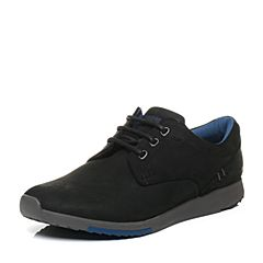 Hush Puppies/暇步士秋季专柜同款黑色牛皮磨砂系带舒适男休闲鞋01546CM6
