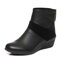 Hush Puppies/暇步士冬季专柜同款黑色光面休闲坡跟女短靴05876DD6