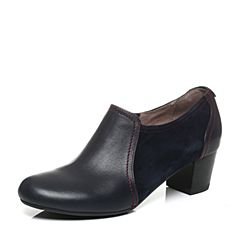 Hush Puppies/暇步士秋季专柜同款深兰色牛皮/羊皮OL通勤粗高跟女皮鞋HJH21CM6