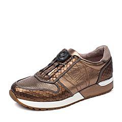 Hush Puppies/暇步士秋季专柜同款古铜色牛皮复古运动风舒适坡跟女休闲鞋HKL23CM6