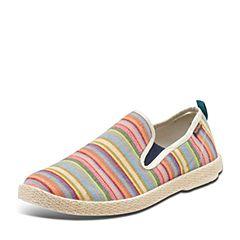 Puppies/暇步士春季专柜同款桔色布活力青春条纹彩色男休闲鞋K0163AM7