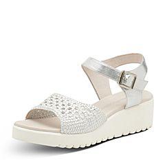 Hush Puppies/暇步士夏季专柜同款白/银色编织镂空坡跟简约女凉鞋HLK03BL7