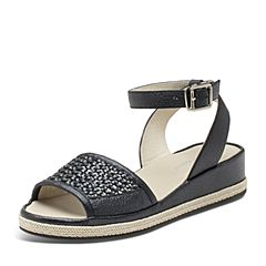 Hush Puppies/暇步士夏季专柜同款黑色人造革/羊皮编织镂空条带坡跟纯色舒适女凉鞋HKX05BL7