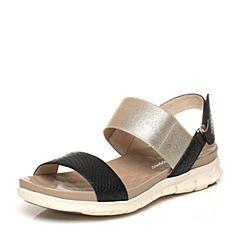 Hush Puppies/暇步士专柜同款夏季黑色羊皮拼色厚底女凉鞋HLT02BL7