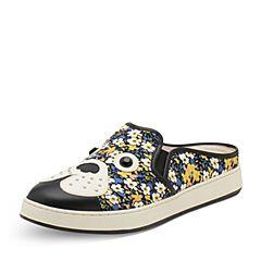 Hush Puppies/暇步士春季专柜同款黄白色印花布/牛皮狗仔印花平跟女拖鞋穆勒鞋HFB01BT7