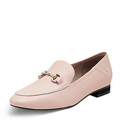 Puppies/暇步士专柜同款春季粉色牛皮套脚方跟女单鞋HBM14AM7