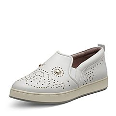 Hush Puppies/暇步士2017专柜同款春季白色羊皮简约舒适女休闲鞋HFB15AM7