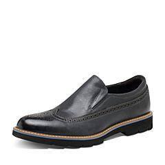 Hush Puppies/暇步士2017春季专柜同款黑色牛皮复古雕花男单鞋休闲鞋Z1K01AM7