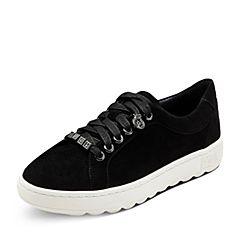Hush Puppies/暇步士2017秋季专柜同款黑色羊皮系带舒适女休闲鞋HMK25CM7