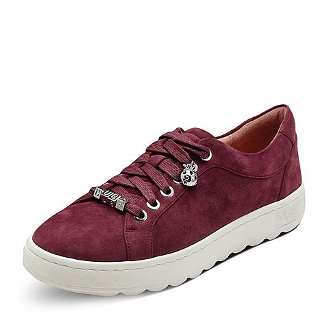 Hush Puppies/暇步士2017秋季专柜同款紫红色羊皮系带舒适女休闲鞋HMK25CM7