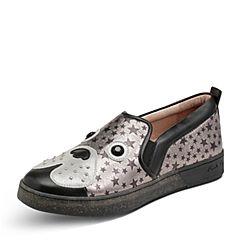 Hush Puppies/暇步士秋季新款专柜同款银灰色羊皮个性时尚休闲女乐福鞋狗狗鞋HMB28CM7