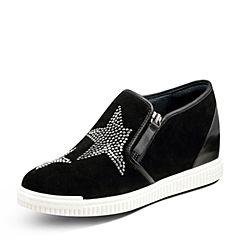 Hush Puppies/暇步士2017秋季专柜同款黑色羊皮铆钉内增高舒适女休闲鞋HLX34CM7
